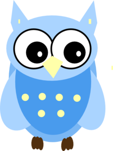 Owl clip art cartoon. Blue owls baby