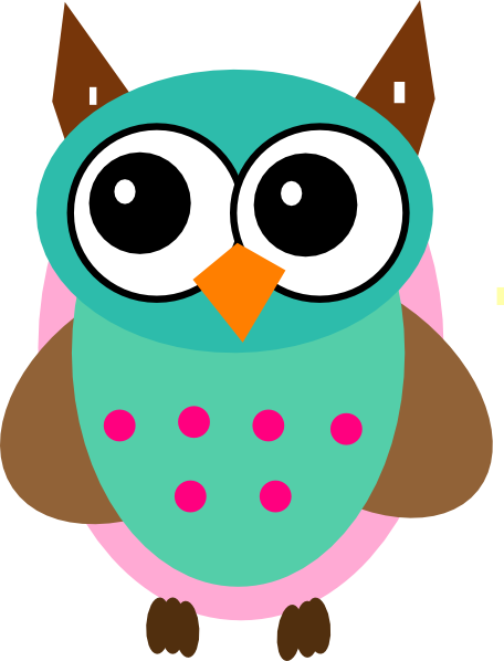 Owl clip art cartoon. Aqua pink download vector