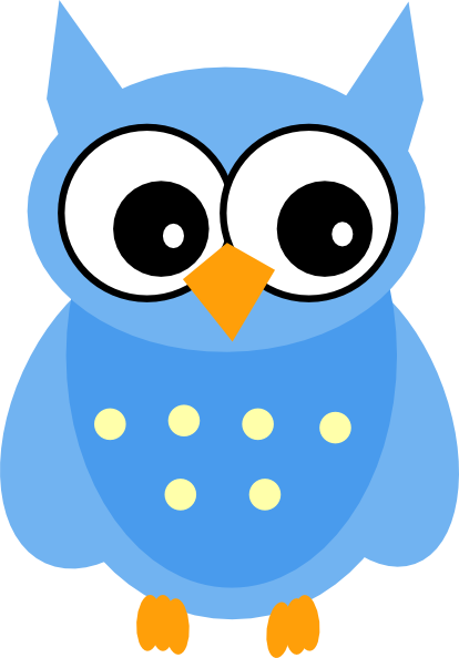 Owl clip art cartoon. Cute owls blue vector