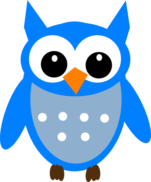 Owl clip art cartoon. Blue clipart