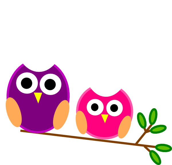Purple and pink owls. Owl clip art cartoon graphic stock