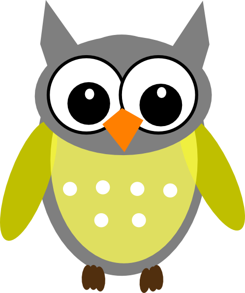 Owl clip art clear background. Yellow gray at clker