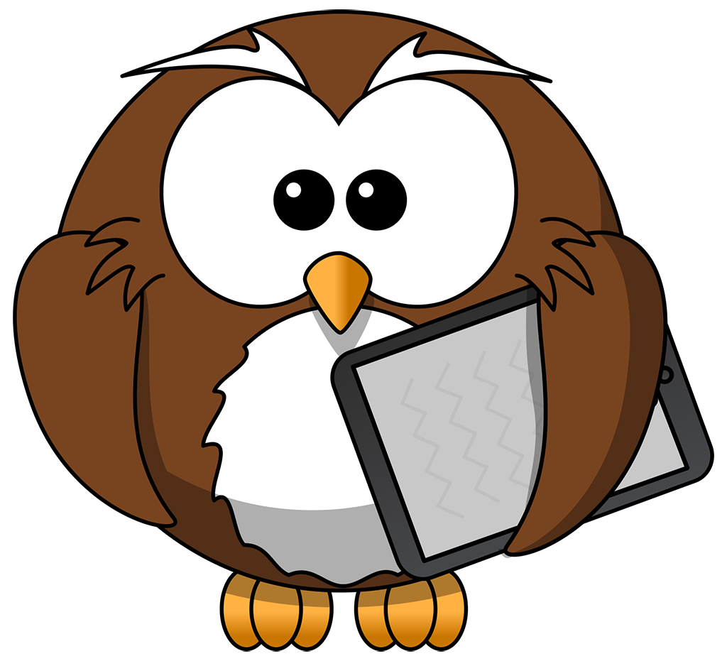 Owl clip art clear background. Cartoon with tablet tim