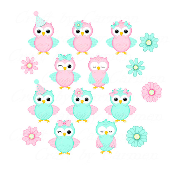Owl clip art clear background. Cute pink and aqua