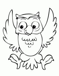 Owl clip art coloring page. Wise with big eyes