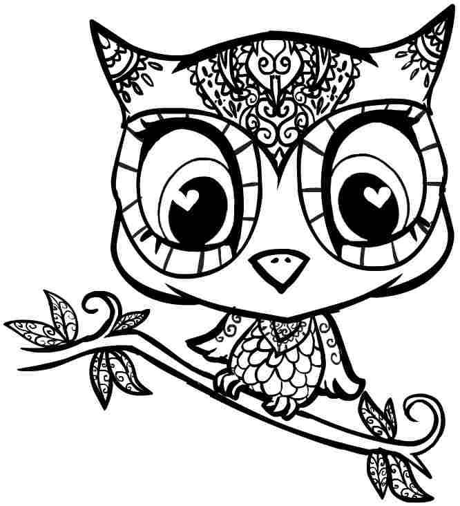 Owl clip art coloring page. Free printable pages cartoon