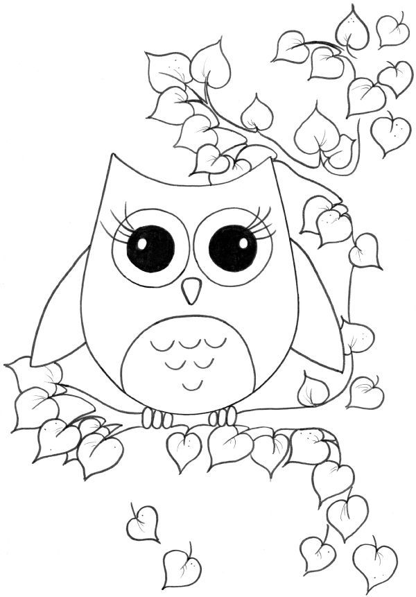 Owl clip art coloring page. Cute girl pages to
