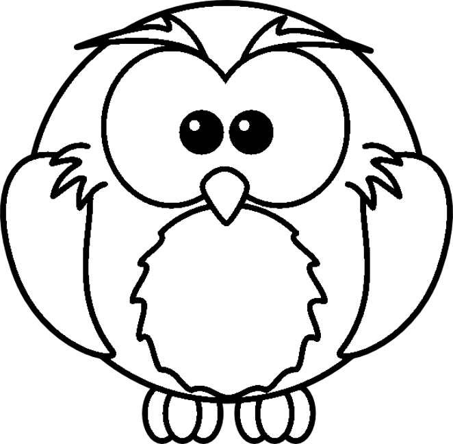 Owl clip art coloring page. Cute pages getcoloringpages com