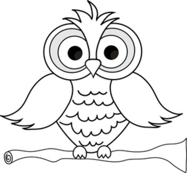 Owl clip art coloring page. Cute pages large feathers