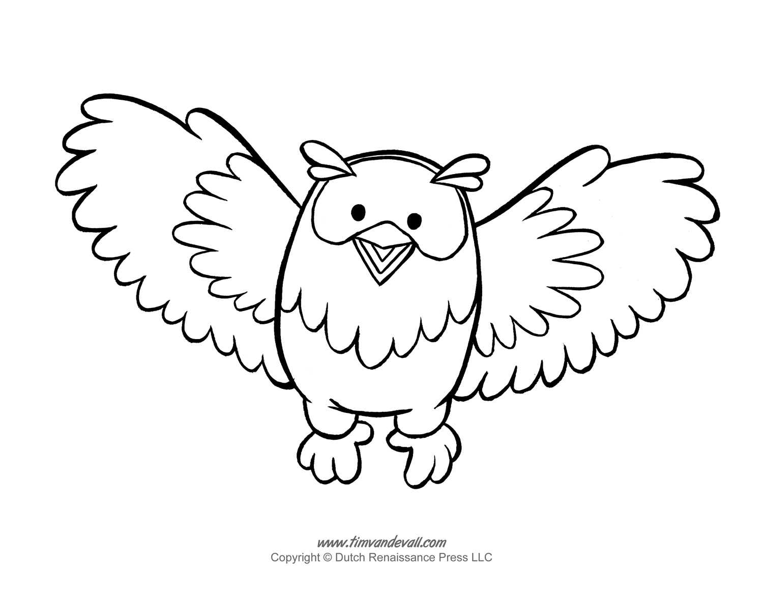 Owl clip art coloring page. Printable template pages and