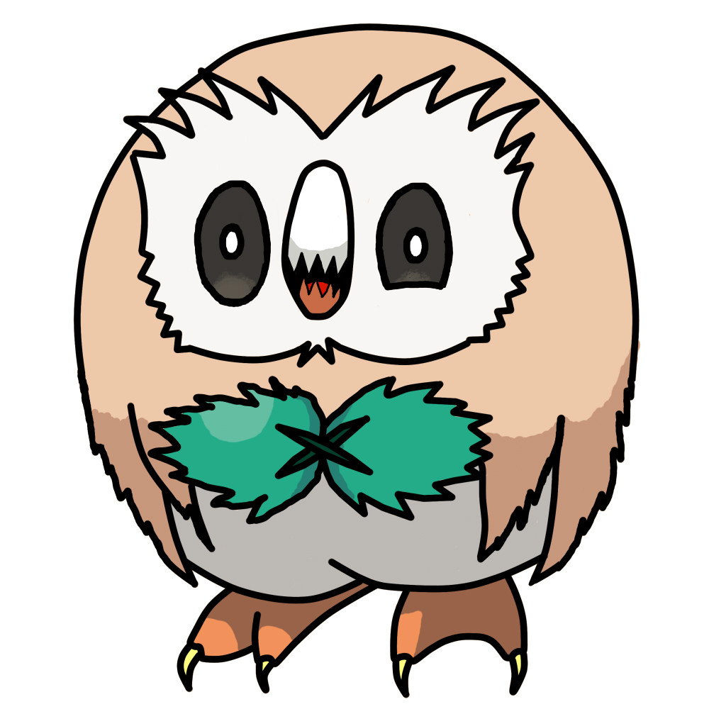 Owl clip art creepy. Neeyellow drawings heres rowlet