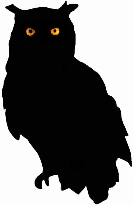Owl clip art creepy. Silhouette print out and
