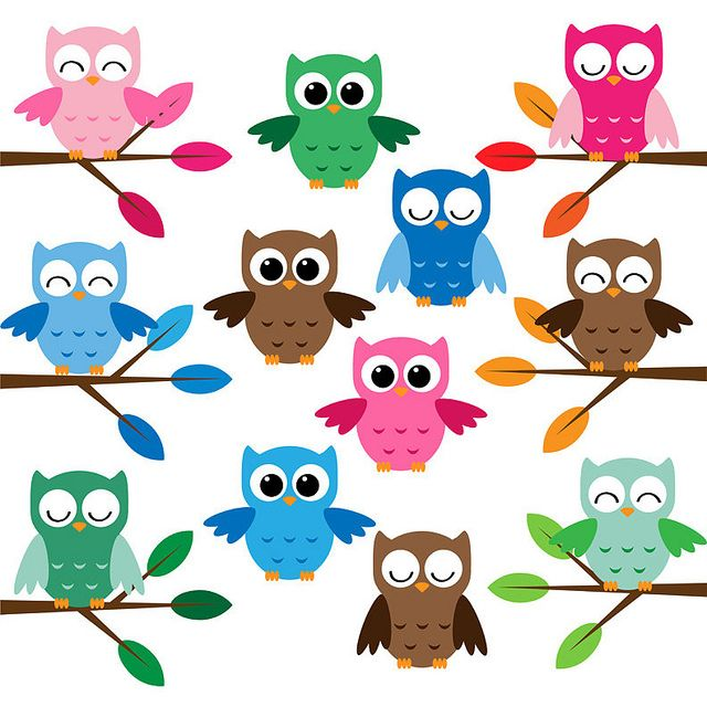 Owl clip art cute. Owls set and free