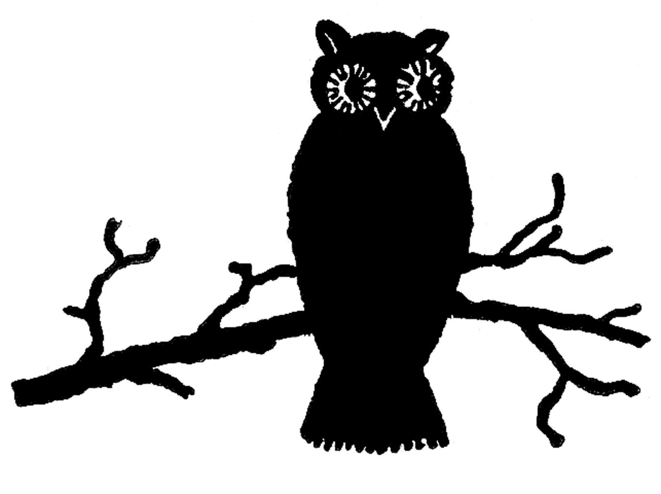 Owl clip art silhouette. Vintage halloween cute the