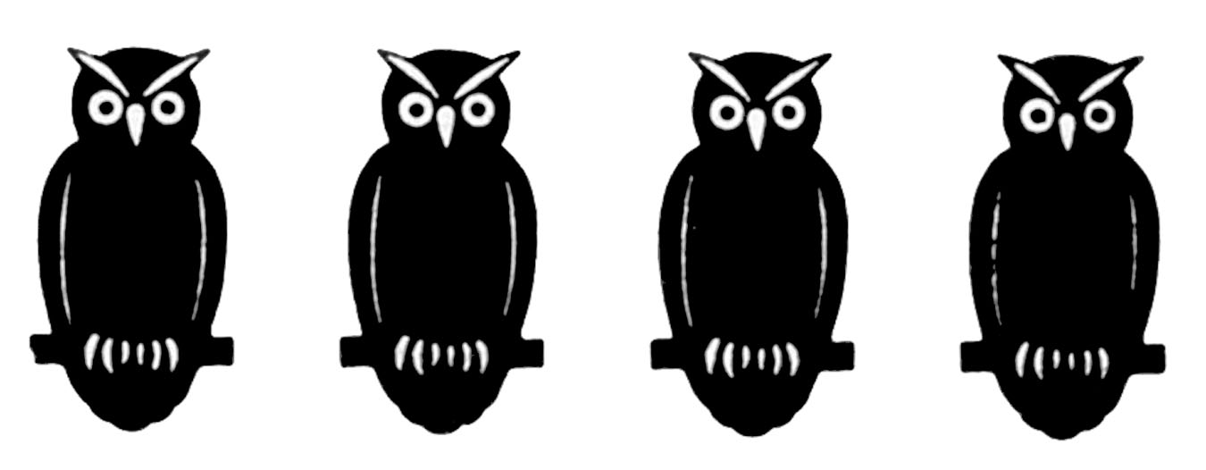 Owl clip art silhouette. Vintage halloween border the
