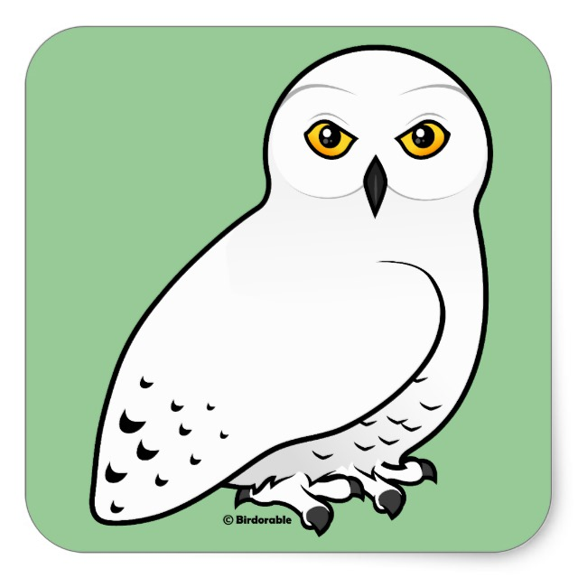 Owl clip art snow owl. Birdorable snowy square sticker