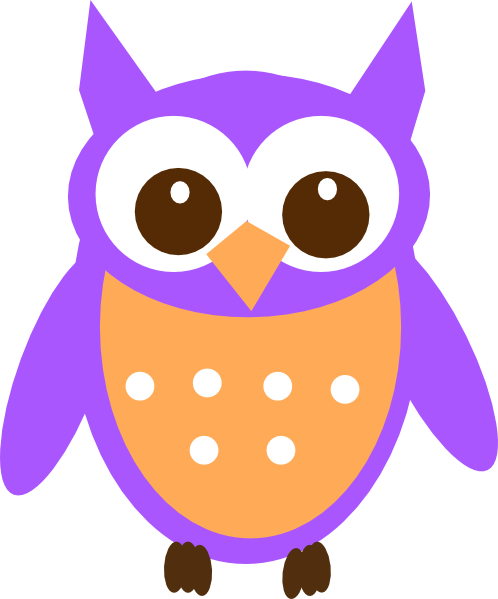 Purple orange. Owl clip art at