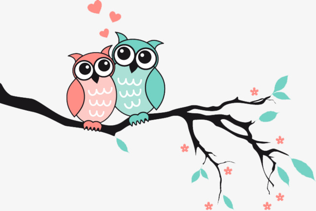 Owl clip art tree branch. Cartoon on a birds