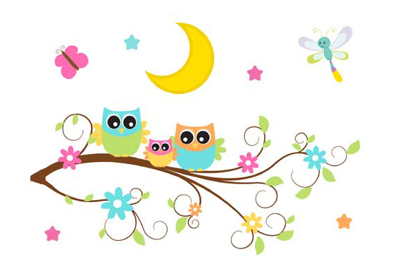 Owl clip art tree branch. Mural wall decal woodland