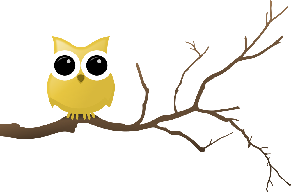 Yellow on clipart cartoons. Owl clip art tree branch jpg black and white stock