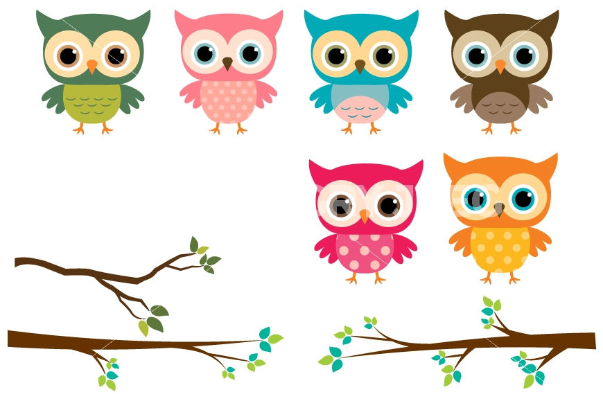 Owl clip art tree branch. Cute owls clipart colorful