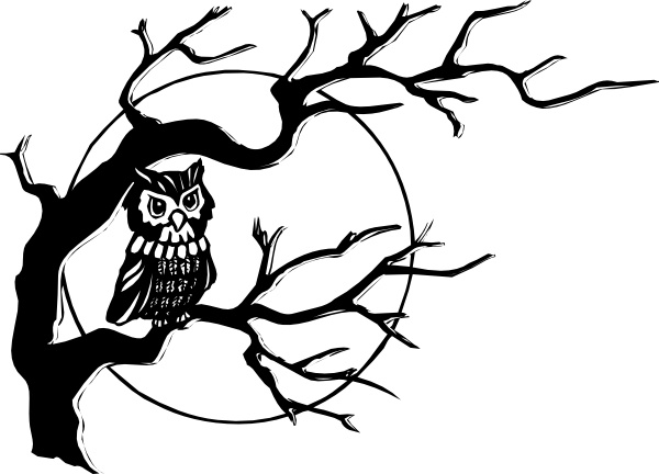 On free vector in. Owl clip art tree branch banner black and white library