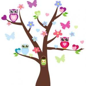 Owl clip art tree branch. Cute wall clipart panda