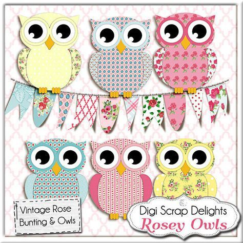 Rose owls bunting cath. Owl clip art vintage clipart royalty free stock