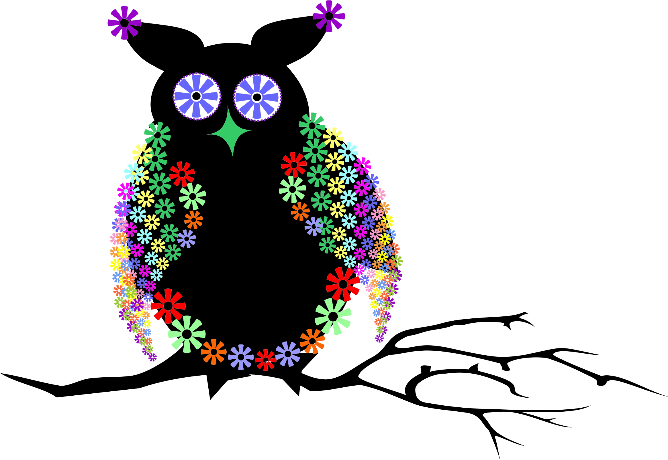 Owl .png. Abstract floral icons png