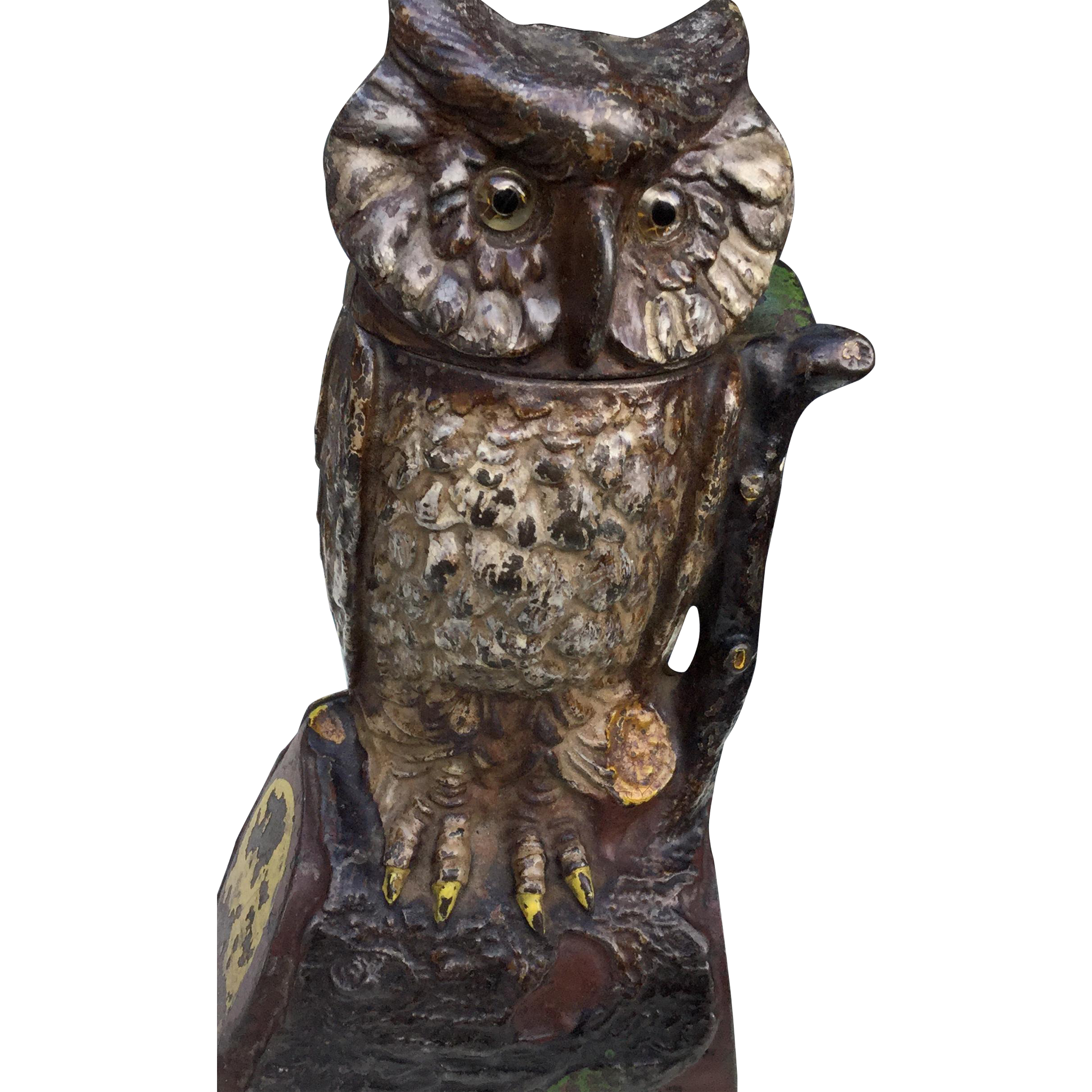 Owl statue png. Moving head glass eyes