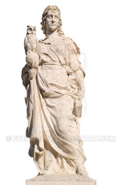 Owl statue png. Of a woman with