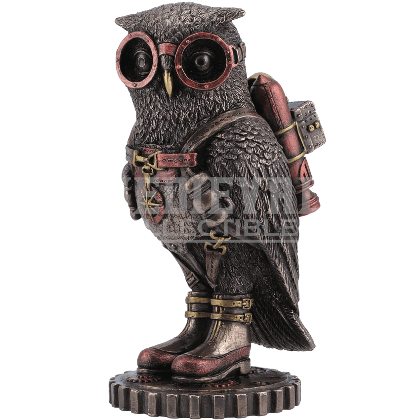 Owl statue png. Steampunk with goggles and