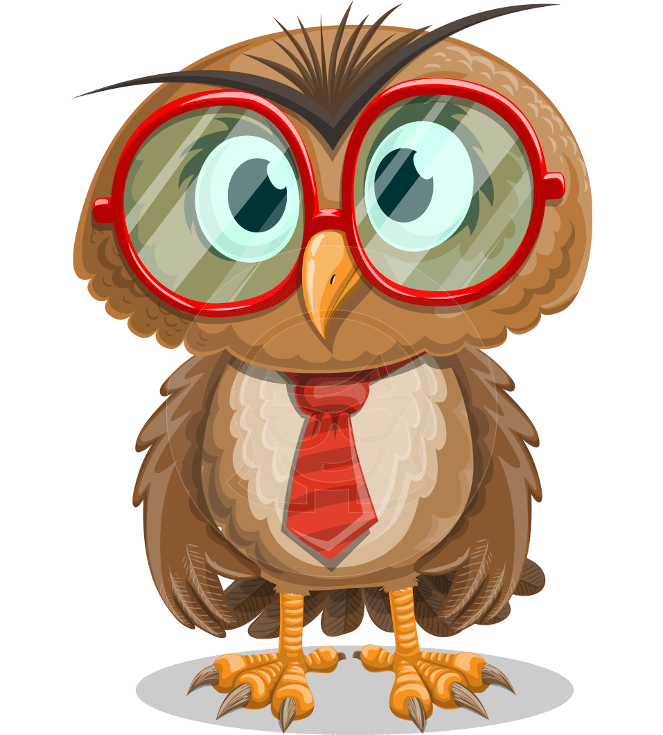 Owl vector png. With glasses cartoon character