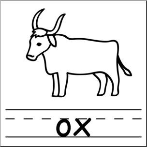 Ox clipart black and white. Clip art basic words