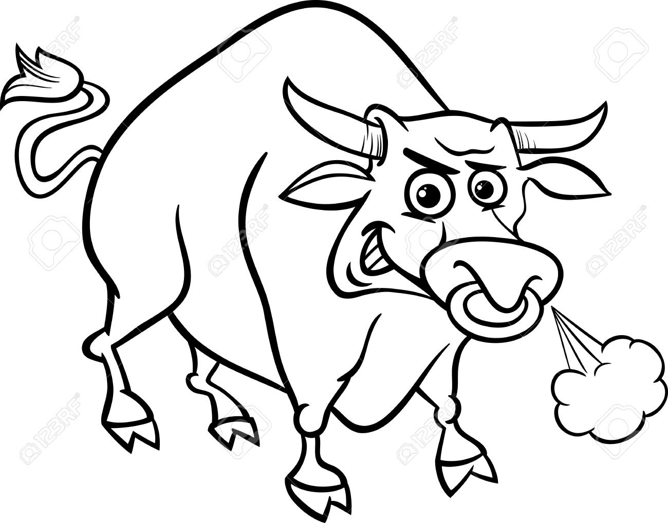 Ox clipart black and white. Letters format cartoon illustration