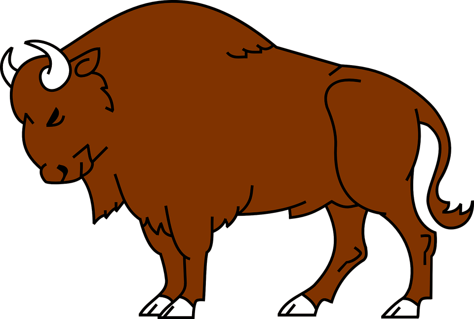 Ox vector kid. Bison buffalo wood badge