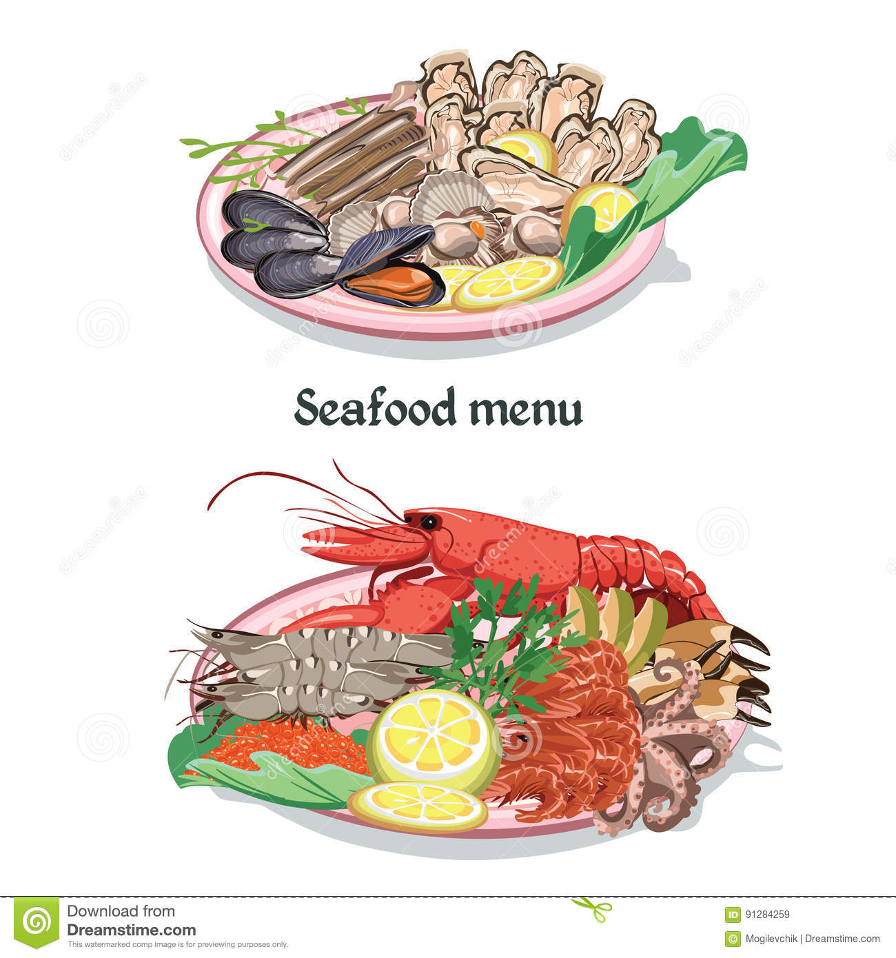 Sketch seafood menu concept. Oyster clipart colorful jpg download