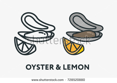 Shell mollusk seafood lemon. Oyster clipart colorful image royalty free