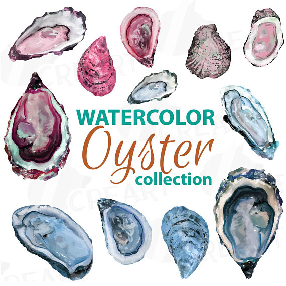 Clip art pack tropical. Oyster clipart watercolor clip art free library