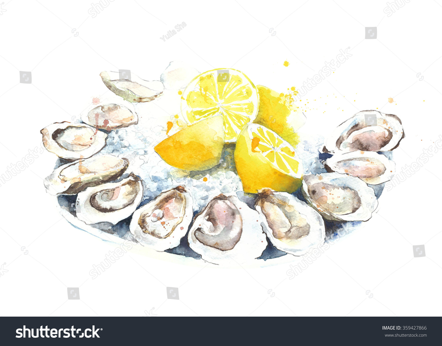 Oyster clipart watercolor. Oysters fresh on plate banner royalty free library