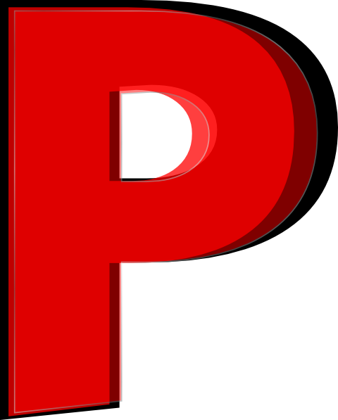 P clipart. Multiple layer red clip