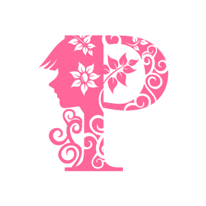 P clipart flower. Pink alphabet with white