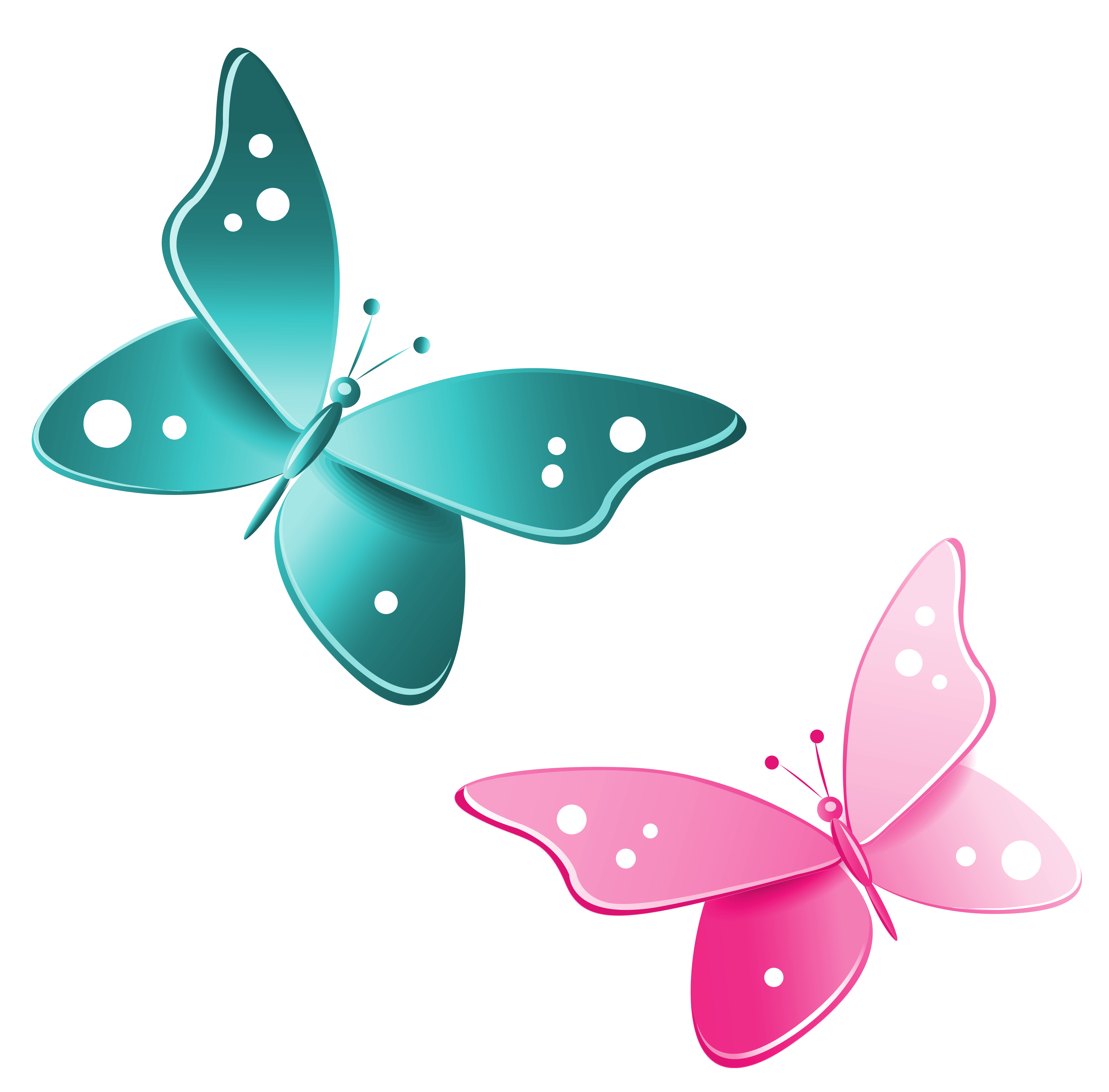 P clipart teal. Blue and pink butterflies
