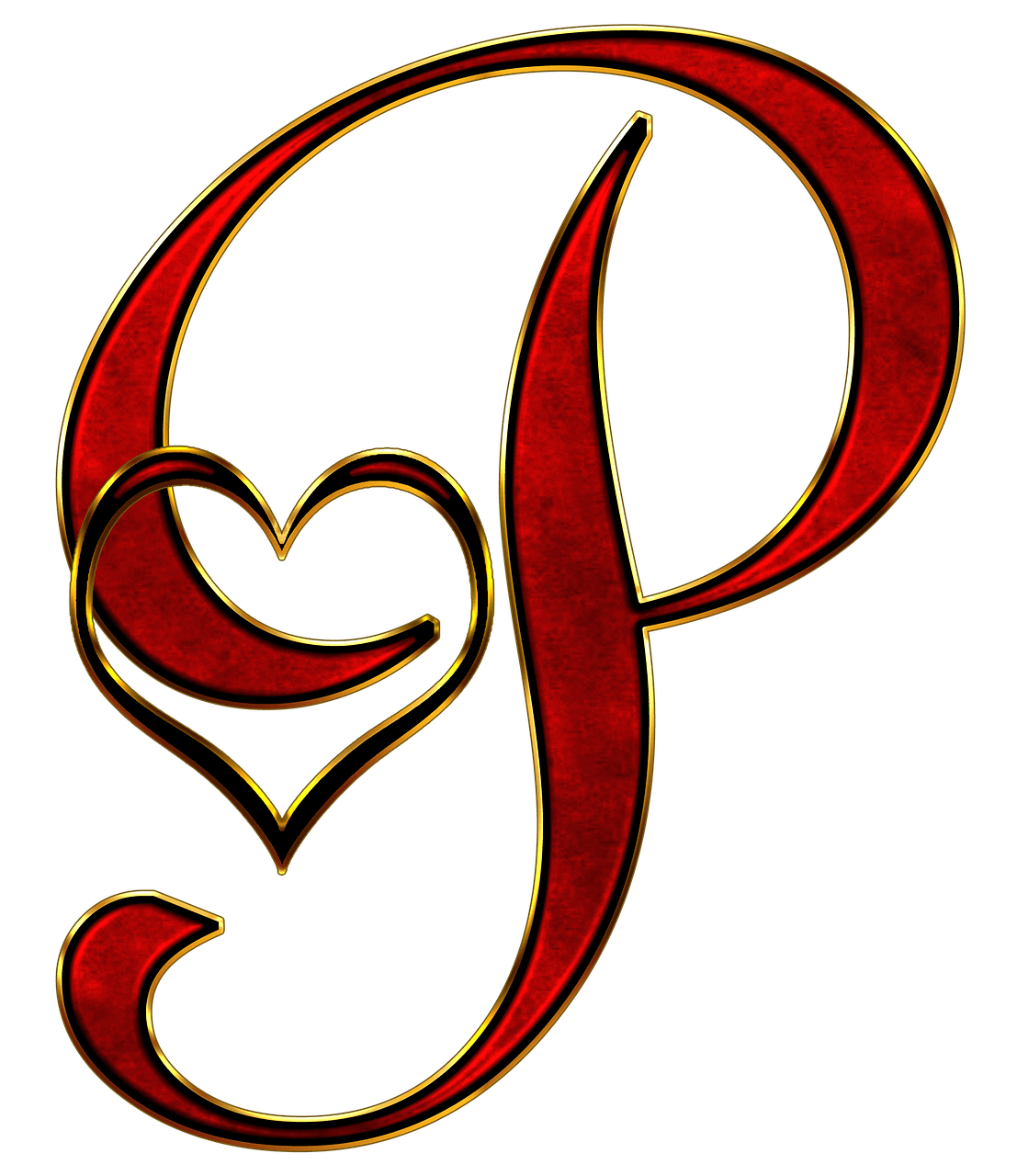 Valentine capital letter png. P transparent graphic library stock