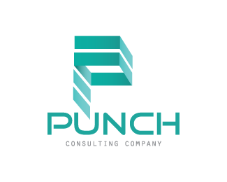 P transparent design letter. Punch consulting company designed