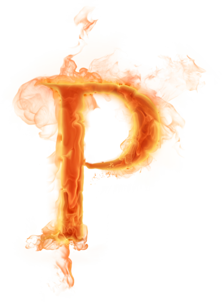 Transparent p fire. Burning letter psd official