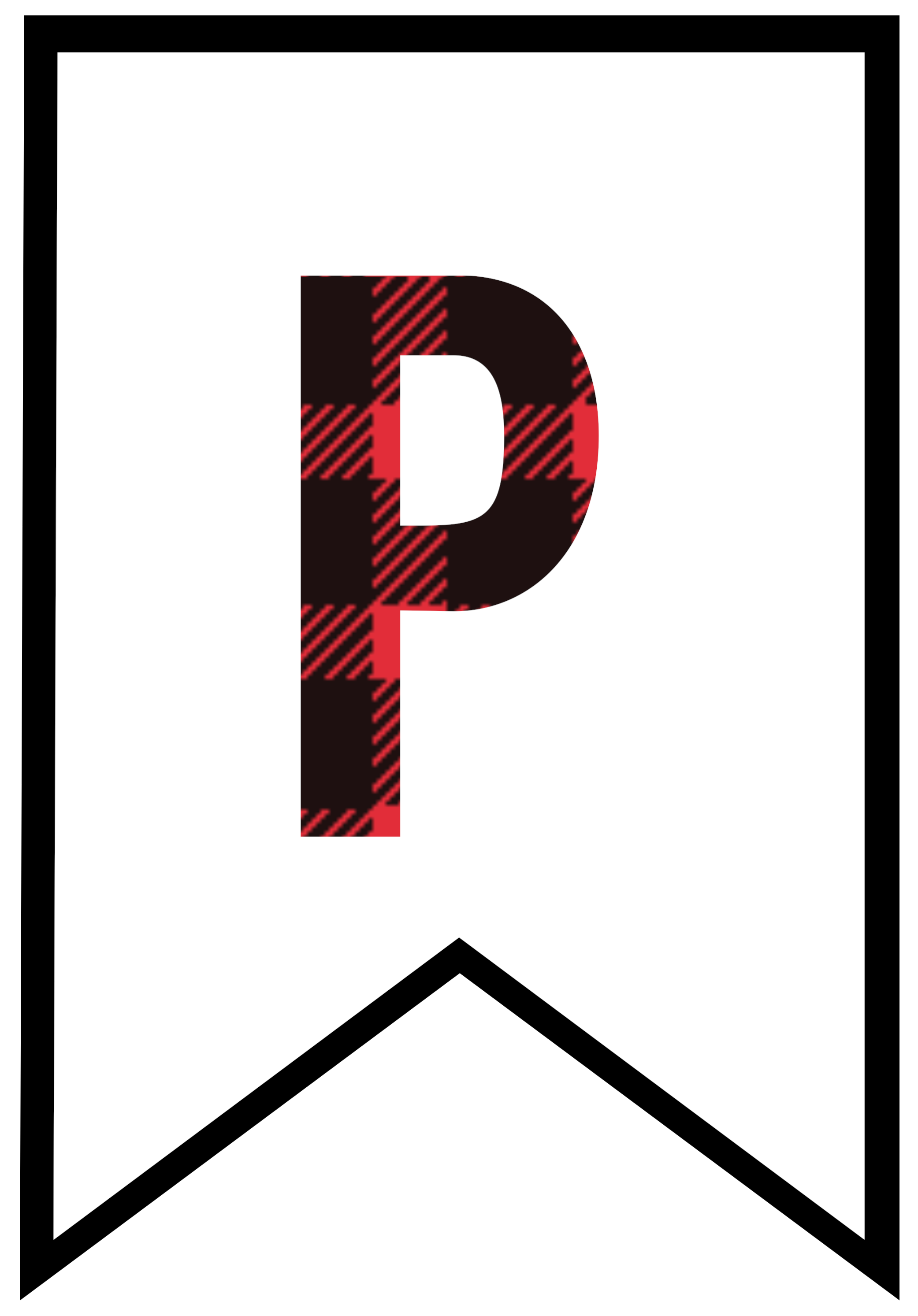 P transparent printable letter. Buffalo plaid free banner