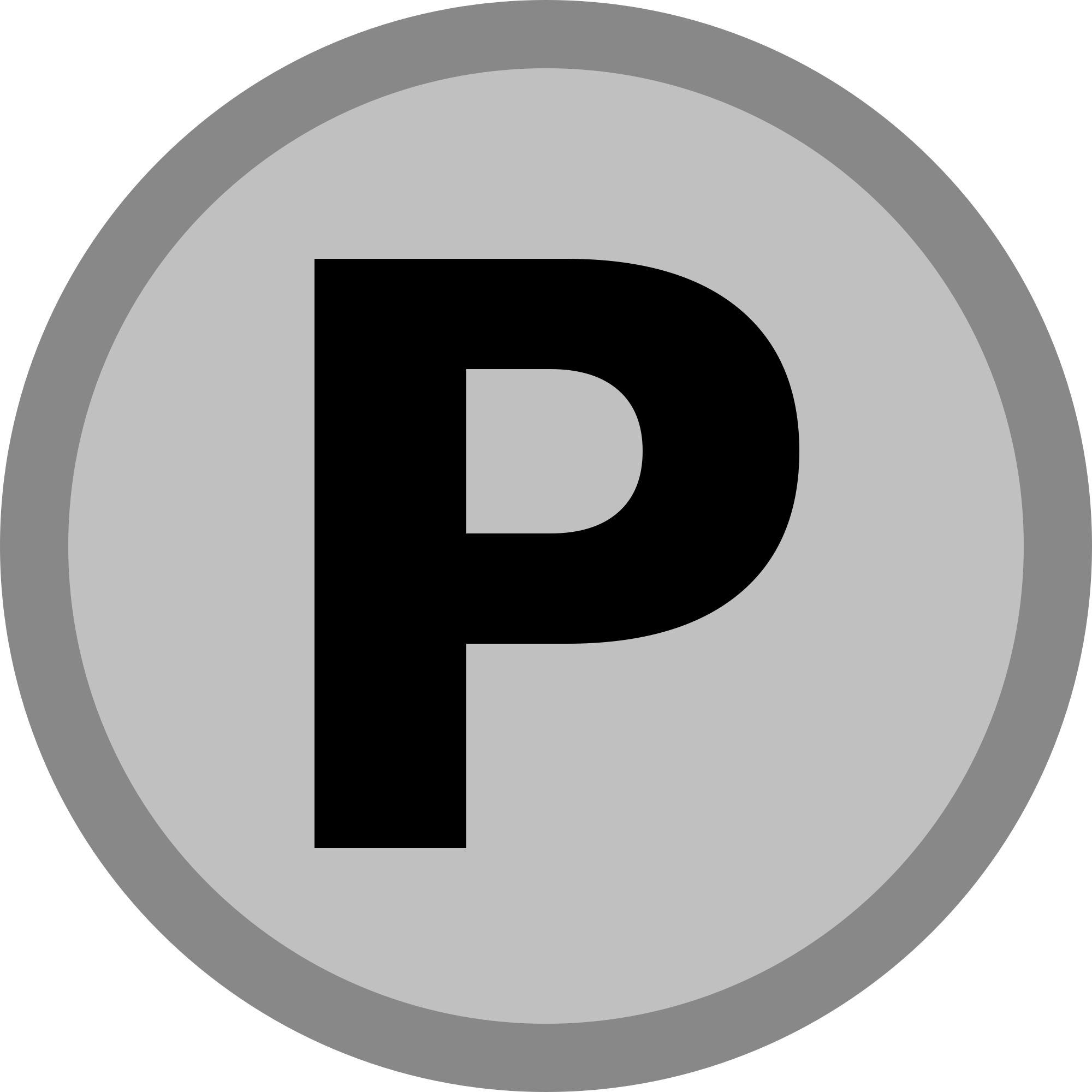 P transparent initial. File silver medal icon
