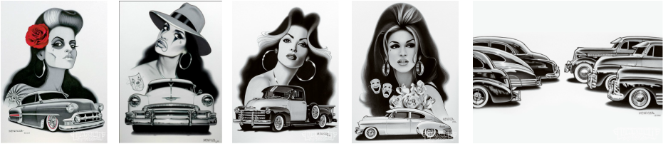 Pachuco drawing lowride car. Artists martinez web page