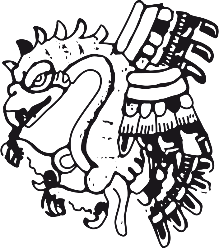 Pachuco drawing aztlan. Coat of arms by